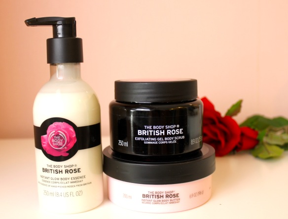 The Body Shop British Rose exfoliating gel body scrub Body butter  Elin Fagerberg.se